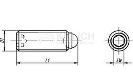 šroub M5x14 vnitřní imbus+kulička - standardní síla pružiny (červík)