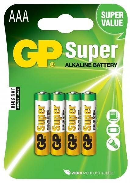 baterie GP SUPER AAA 1.5V Alkalické, blistr (4 ks) B1311