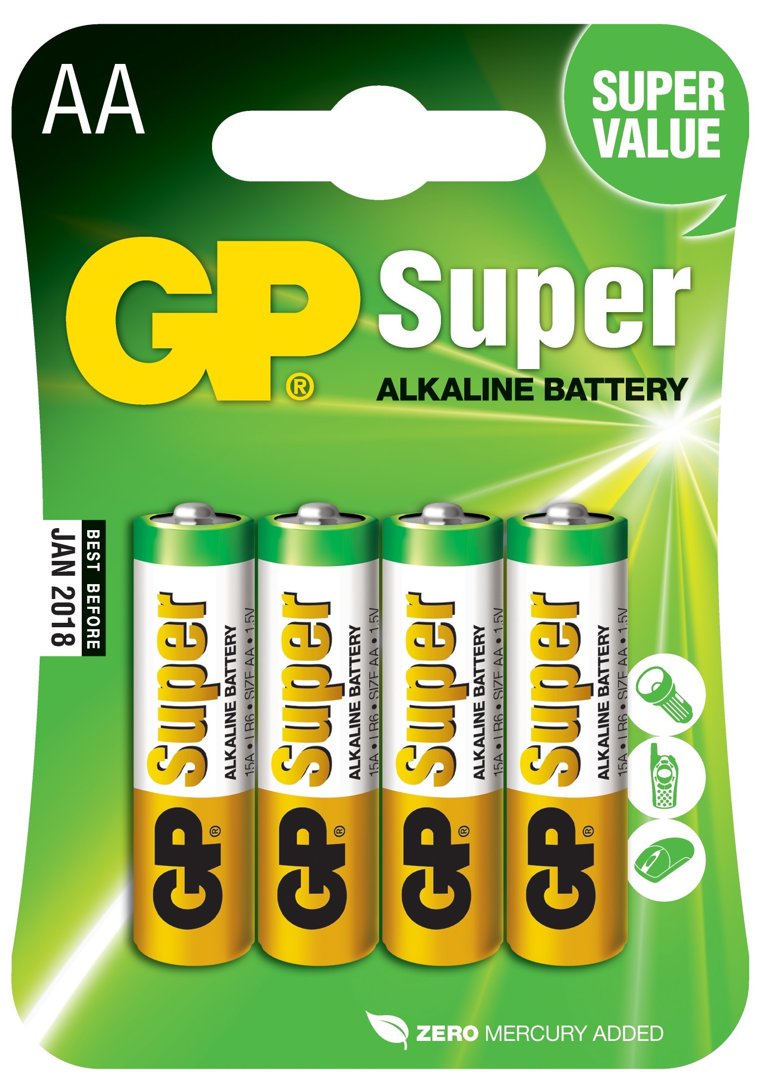 baterie GP SUPER AA Alkalické 1.5.V 4ks