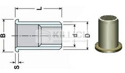 nýtovací matice OTEVŘENÁ M5x15.5 ZINEK plochá rýhovaná hlava hladké tělo (s= 3.0-5.0 mm)
