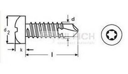 tex 4.2x19 A4 NEREZ půlkulatá hlava TORX DIN 7504M TX