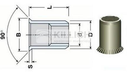 nýtovací matice OTEVŘENÁ M8x16.5 ZINEK zápustná velká rýhovaná hlava hladké tělo (s= 1.5-3.8 mm)