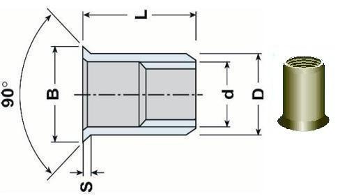 nýtovací matice OTEVŘENÁ M6x17 Al-hliník zápustná velká hladká hlava hladké tělo (s= 4.0-6.0 mm)