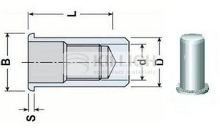 nýtovací matice UZAVŘENÁ M4x16.5 ZINEK plochá rýhovaná hlava, hladké tělo (s= 0.3-2.5 mm)