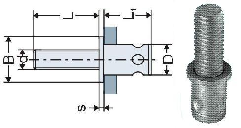 nýtovací šroub M6x10 ZINEK plochá hlava 0.5-2.4mm