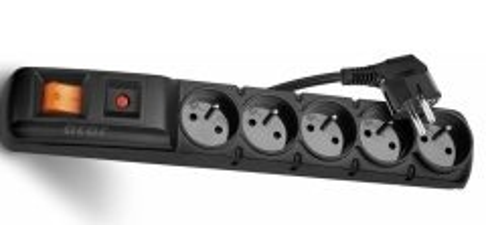 prodlužovačka černá 1.5m, 5 zásuvek, přepěťová ochrana P53871