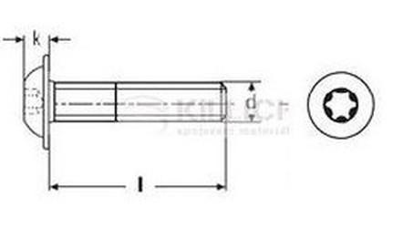 šroub M6x35 A2 NEREZ půlkulatá hlava límec TORX 30 ISO 7380-2T