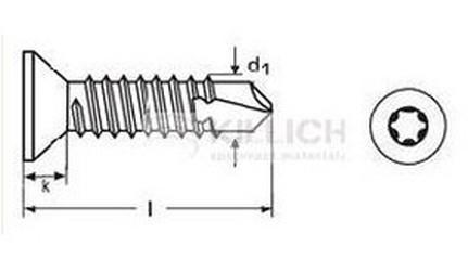 tex 6.3x50 ZINEK zápustná hlava TORX DIN 7504P TX