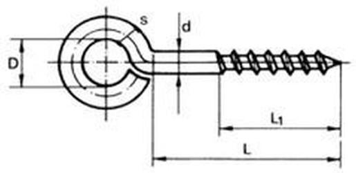 očko 3.0x16 (délka 29mm, závit 11mm, očko 7mm) ZINEK do dřeva