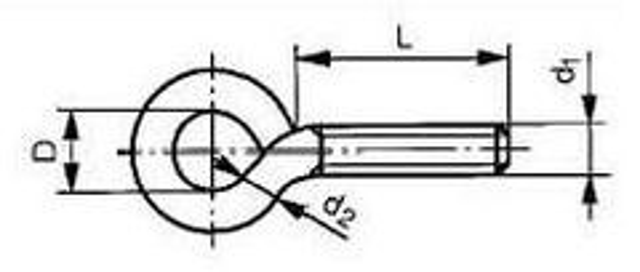 šroub M6x100 (délka 125mm, závit 100mm, očko 10mm) s okem ZINEK typ 48