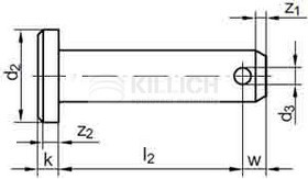 čep 14h11x60 BEZ PÚ s hlavou, otvor pro závlačku 4H13 ISO 2341 B DIN 1444 B