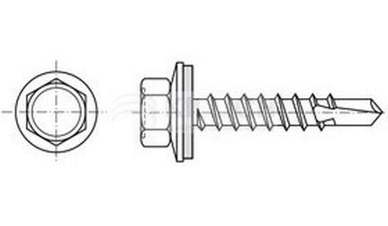 tex do dřeva 4.8x35 ZINEK šestihranný gumová EPDM podložka 14mm střešní-farmářský šroub