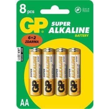 baterie GP SUPER AA Alkalické 1.5.V, blistr (6+2 ks) B13218