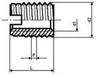 závitová vložka M6x10x1.5x8 ZINEK typ E