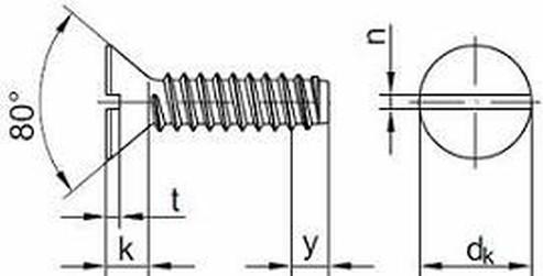 šroub do plechu 3.9x13 ZINEK zápustná hlava rovná drážka tupý DIN 7972 F