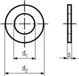 podložka M5 pr. 5.3x10x1 MOSAZ plochá DIN 125