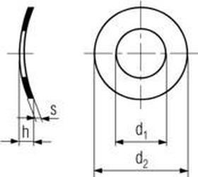 podložka M4 pr. 4.3x8x0.5 ZINEK pružná prohnutá DIN 137A