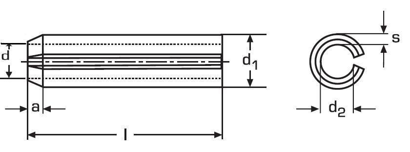kolík 8x70 A2 NEREZ pružný DIN 1481 ISO 8752