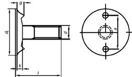 šroub M8x25 zápustná hlava 3.6 ZINEK korečkový+matice+podložka DIN 15237