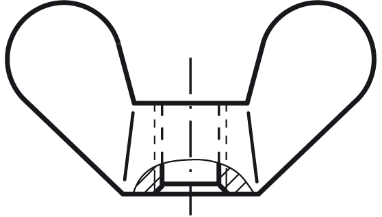 matice M12 BEZ PÚ velká křídla GT DIN 315