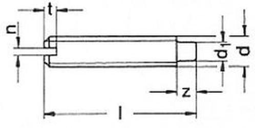 šroub M5x20 BEZ PÚ 14H stavěcí, drážka + čípek DIN 417