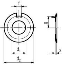 podložka M10 pr. 10.5x26x1 BEZ PÚ pojistná s nosem DIN 432