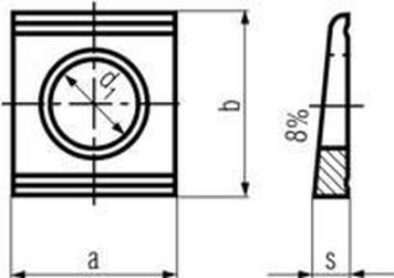 podložka M8 pr. 9x22x22x3.8 ZINEK klínová DIN 434U