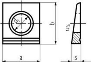 podložka M10 pr. 11x22x22x4.6 ZINEK čtyřhranná pro nosníky DIN 435I