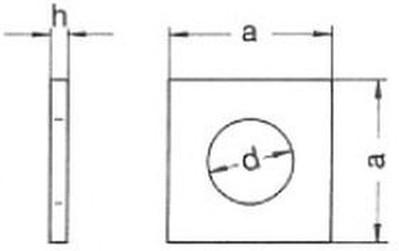 podložka M10 pr. 11x30x3 ZINEK čtyřhranná DIN 436