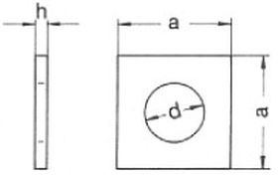podložka M10 pr. 11x30x3 BEZ PÚ čtyřhranná DIN 436