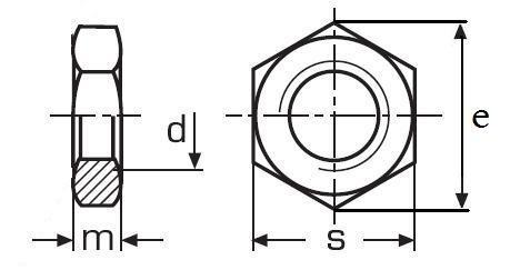 matice M10 MOSAZ nízká DIN 439B
