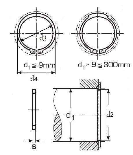 pojistný kroužek 47x1.75 1.4122 NEREZ pro hřídel, vnější DIN 471