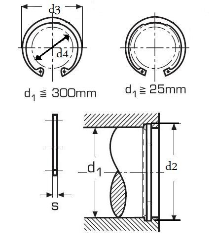 pojistný kroužek 34x1.5 1.4122 NEREZ pro díru, vnitřní DIN 472