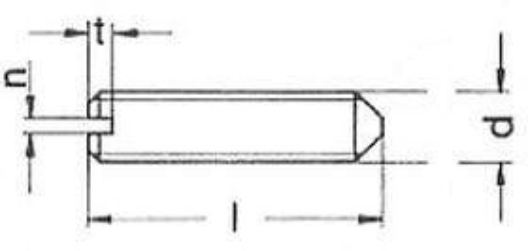 šroub M4x4 BEZ PÚ 14H stavěcí, drážka+hrot DIN 553