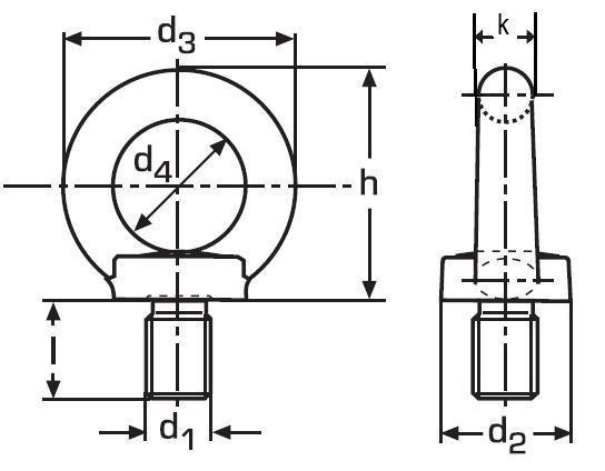 šroub M6 BEZ PÚ C15 E s okem závěsný DIN 580