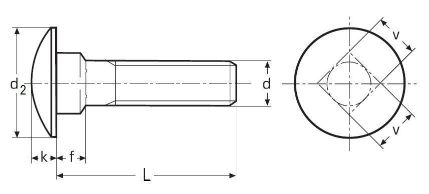 šroub M10x20 A2 NEREZ vratový DIN 603
