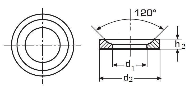podložka M20 pr. 23.2x36x7.5 BEZ PÚ kuželová pánvička DIN 6319D