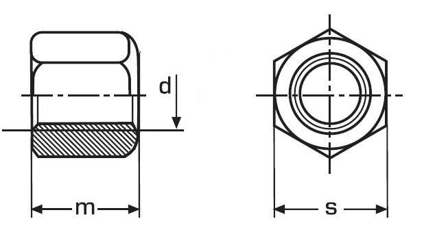 matice M12 BEZ PÚ /10/ vysoká 1.5d DIN 6330B