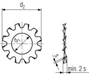 podložka M10 pr. 10.5x18x0.9 A ŽLUTÝ ZINEK vějířová vnější ozubení DIN 6797A