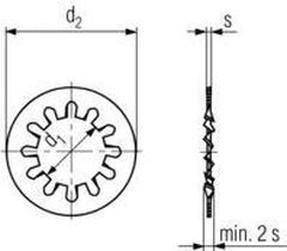 podložka M12 pr. 13x20.5x1 ZINEK vějířová vnitřní ozubení DIN 6797J