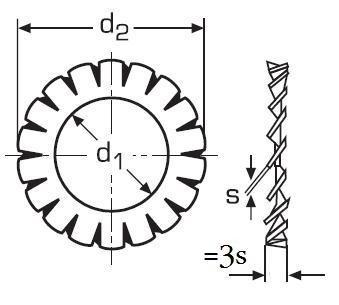 podložka M10 pr. 10.5x18x0.9 BEZ PÚ vějířová vnější ozubení DIN 6798A