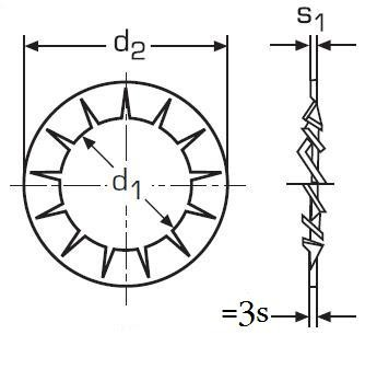 podložka M4 pr. 4.3x8x0.5 ZINEK vějířová vnitřní ozubení DIN 6798J