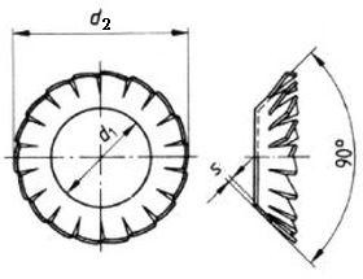 podložka M5 pr. 5.3x10x0.6 ZINEK vějířová vnější ozubení DIN 6798V
