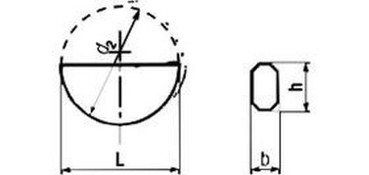 pero 3x3.7x9.66 Woodruffův klín DIN 6888