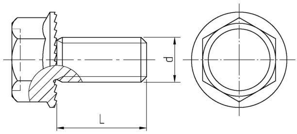 šroub M5x25 A2 nerez OZUBENÝ límec DIN 6921
