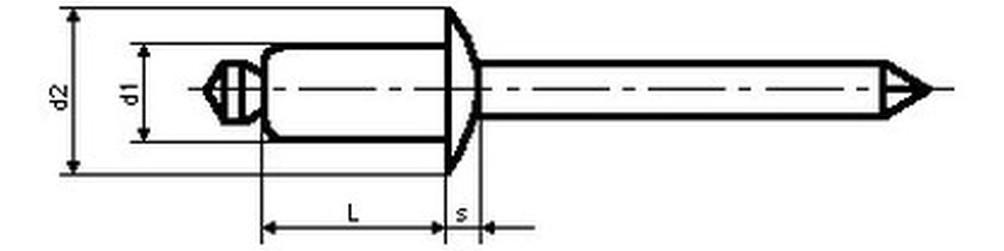 trhací nýt 4.0x10 Al/ST vícesvěrný MULTI-GRIP plochá hlava