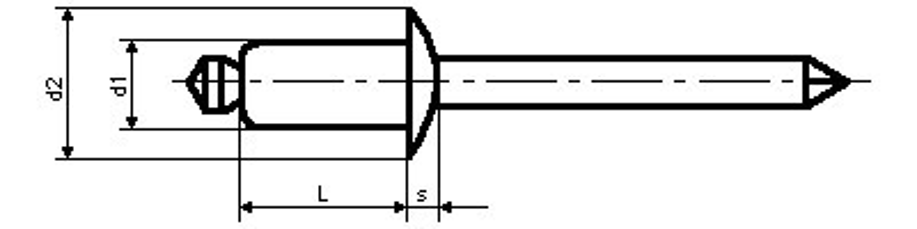 trhací nýt 4.8x60 AL/ST plochá hlava DIN 7337 A