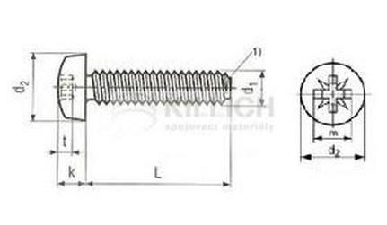 šroub M6x12 ZINEK půlkulatá hlava, křížová drážka samořezný DIN 7500 C-Z