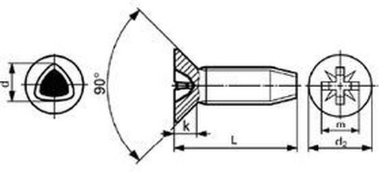 šroub M6x16 ZINEK zápustná hlava, křížová drážka samořezný DIN 7500 M