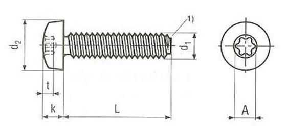 šroub M5x30 A2 NEREZ půlkulatá hlava, TORX samořezný DIN 7500 C-TX